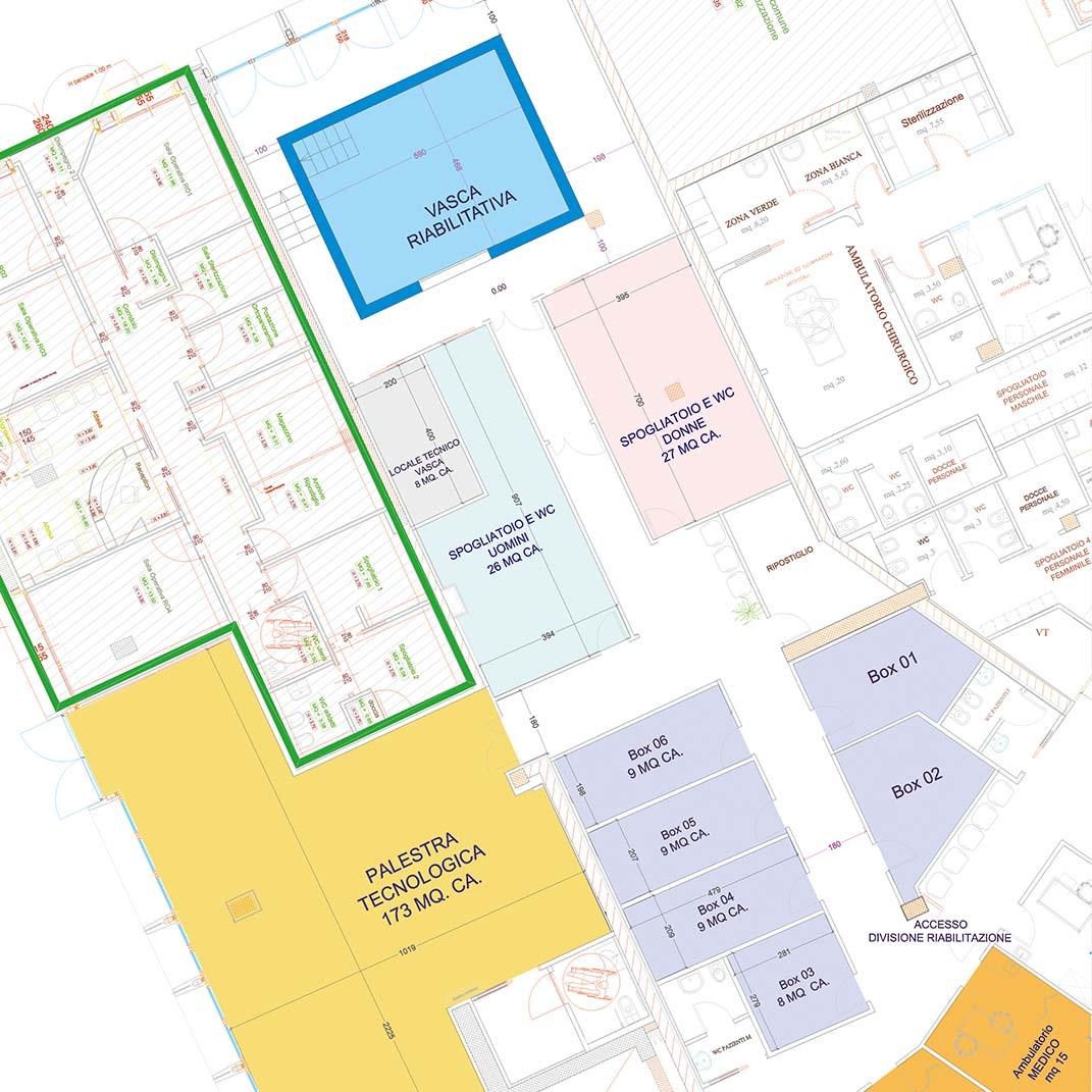 Progettazione a circle centro riabilitativo chiavi in mano